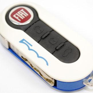 Fiat 500 Single Blue White Remote Key Cover Case